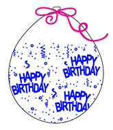 """18"""" Stuffing Balloons (25 Per Bag) Decomex Clear HAPPY BIRTHDAY with BLUE INK"""