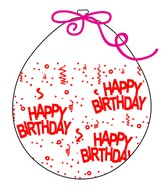 """18"""" Stuffing Balloons (25 Per Bag) Decomex Clear HAPPY BIRTHDAY with RED INK"""