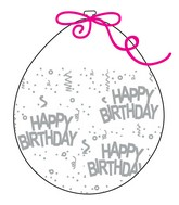 """18"""" Stuffing Balloons (25 Per Bag) Decomex Clear HAPPY BIRTHDAY with SILVER INK"""