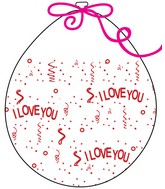 """18"""" Stuffing Balloons (25 Per Bag) Decomex Clear I LOVE YOU with RED INK"""