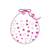 """18"""" Stuffing Balloons (25 Per Bag) Decomex Clear HEART with BABY PINK INK"""