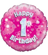 """18"""" Happy 1st Birthday Pink Holographic Oaktree Foil Balloon"""