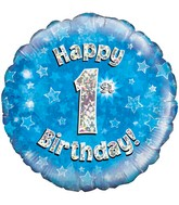 """18"""" Happy 1st Birthday Blue Holographic Oaktree Foil Balloon"""