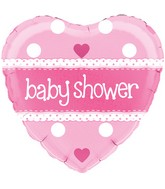 """18"""" Baby Shower Heart Pink Holographic Oaktree Foil Balloon"""