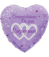 """18"""" Congratulations On Your Engagement Oaktree Foil Balloon"""