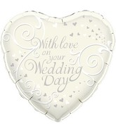 """18"""" With Love On Your Wedding Day Oaktree Foil Balloon"""