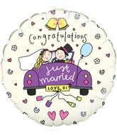 "18"" Congratulations Just Married Oaktree Foil Balloon"