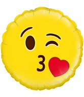"18"" Blow A Kiss Emoji Oaktree Foil Balloon"