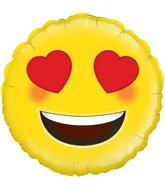 """18"""" Heart Eyes Emoji Oaktree Foil Balloon"""