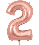 "34"" Number 2 Rose Gold Oaktree Foil Balloon"