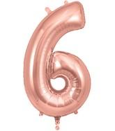 "34"" Number 6 Rose Gold Oaktree Foil Balloon"