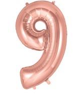 "34"" Number 9 Rose Gold Oaktree Foil Balloon"