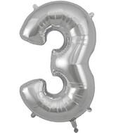 "34"" Number 3 Silver Oaktree Foil Balloon"
