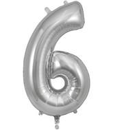 "34"" Number 6 Silver Oaktree Foil Balloon"