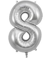 "34"" Number 8 Silver Oaktree Foil Balloon"