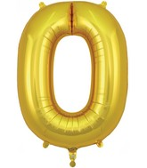 "34"" Number 0 Gold Oaktree Foil Balloon"