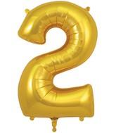 "34"" Number 2 Gold Oaktree Foil Balloon"