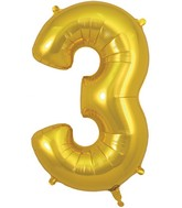 "34"" Number 3 Gold Oaktree Foil Balloon"