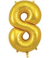 "34"" Number 8 Gold Oaktree Foil Balloon"
