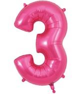 "34"" Number 3 Pink Oaktree Foil Balloon"