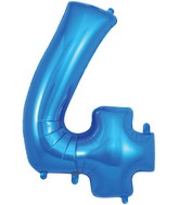 "34"" Number 4 Blue Oaktree Foil Balloon"