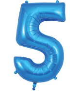 "34"" Number 5 Blue Oaktree Foil Balloon"