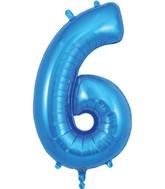 "34"" Number 6 Blue Oaktree Foil Balloon"