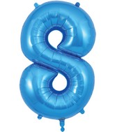 "34"" Number 8 Blue Oaktree Foil Balloon"