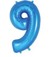 "34"" Number 9 Blue Oaktree Foil Balloon"