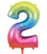 "34"" Number 2 Rainbow Oaktree Foil Balloon"
