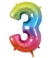 "34"" Number 3 Rainbow Oaktree Foil Balloon"