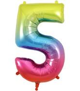 "34"" Number 5 Rainbow Oaktree Foil Balloon"