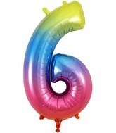 "34"" Number 6 Rainbow Oaktree Foil Balloon"