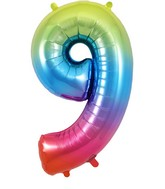 "34"" Number 9 Rainbow Oaktree Foil Balloon"