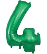 "34"" Number 4 Green Oaktree Foil Balloon"