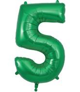 "34"" Number 5 Green Oaktree Foil Balloon"