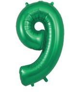 "34"" Number 9 Green Oaktree Foil Balloon"