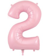 "34"" Number 2 Matte Pink Oaktree Foil Balloon"