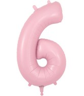 "34"" Number 6 Matte Pink Oaktree Foil Balloon"