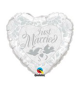 """18"""" Just Married Pearl White & Silver Heart Balloon"""