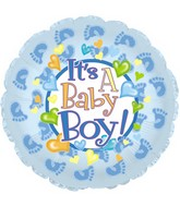 "4.5"" Airfill Only Foil Balloon Baby Boy Footsies"