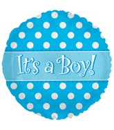 """4.5"""" Airfill Only Foil Balloon It's A Boy Dots"""
