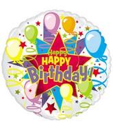 "4.5"" Airfill Only Foil Balloon Happy Birthday Starburst Balloons"