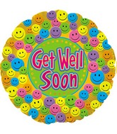 """4.5"""" Airfill Only Foil Balloon Get Well Soon Smiley"""