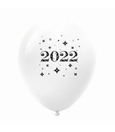 "11"" Year 2022 Stars Latex Balloons White (25 Per Bag)"