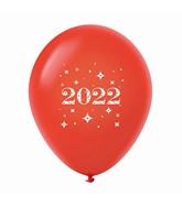 "11"" Year 2022 Stars Latex Balloons Red (25 Per Bag)"