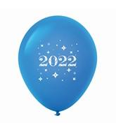 "11"" Year 2022 Stars Latex Balloons Blue (25 Per Bag)"
