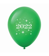 "11"" Year 2022 Stars Latex Balloons Green (25 Per Bag)"