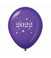 "11"" Year 2022 Stars Latex Balloons Purple (25 Per Bag)"