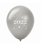 "11"" Year 2022 Stars Latex Balloons Silver (25 Per Bag)"